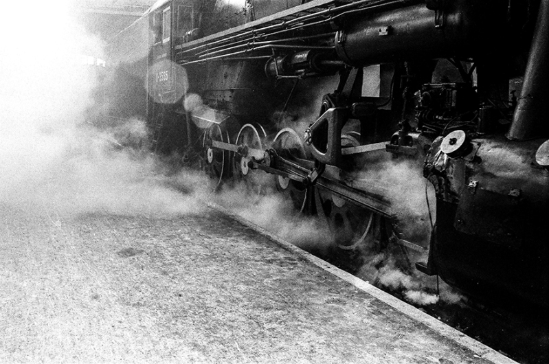 black and white photo of a train to signify hot mess express