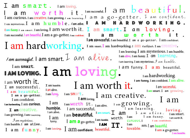 i am positive affirmations in different colors and fonts