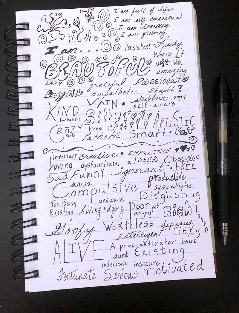 notebook page of i am handwriting